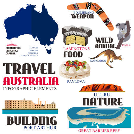 A vector illustration of Infographic elements for traveling to Australia Illustration
