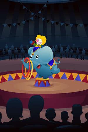 clown cirque: Une illustration de vecteur d'spectacle de cirque Illustration