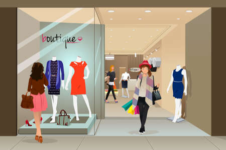 A vector illustration of stylish woman shopping in a mall Çizim