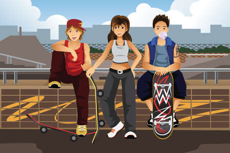 A vector illustration of young people hanging out outside with skateboard