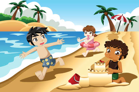 people traveling: A vector illustration of happy kids playing on the beach