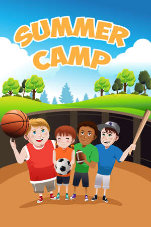 A vector illustration of kids summer camp flyer 向量圖像