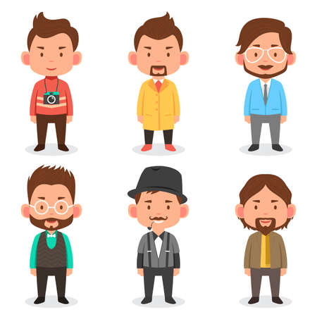 A vector illustration of men avatars in different outfits