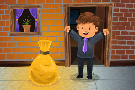 lucky man: A vector illustration of happy man finding a bag of money in front his house