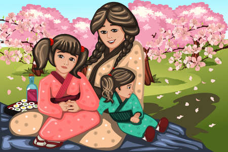 A vector illustration of Japanese woman and her children during Cherry Blossom