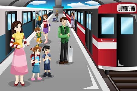 tren caricatura: Una ilustración vectorial de personas esperando en una estación de tren