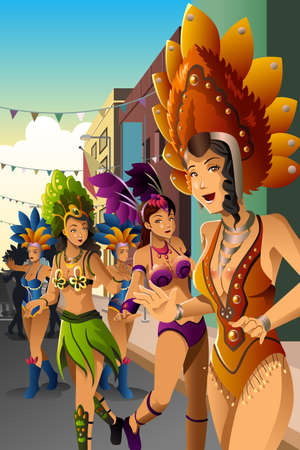 performing: A vector illustration of dancing people in a street carnival Illustration