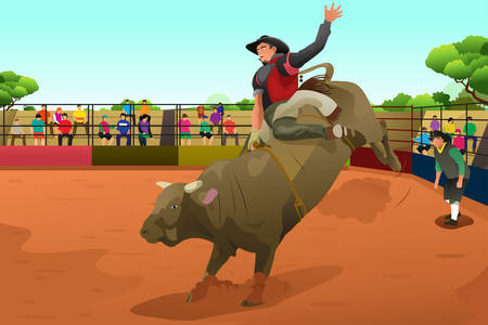 arena rodeo: A vector illustration of rodeo rider in an arena Illustration