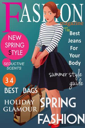 春のファッションのスタイルについての雑誌のカバーのベクトル イラスト