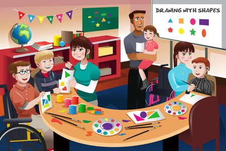 Una ilustración vectorial de estudiantes con discapacidad en un aula