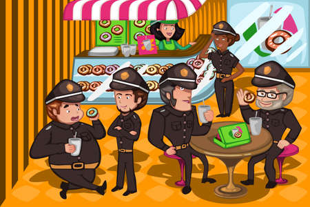 A vector illustration of police officers in a donuts store