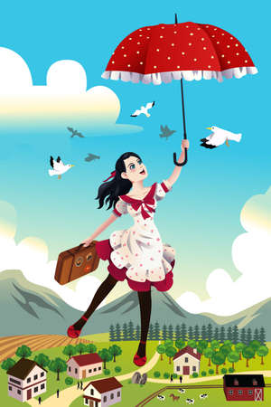 carefree: A vector illustration of woman holding an umbrella flying in the air for carefree concept