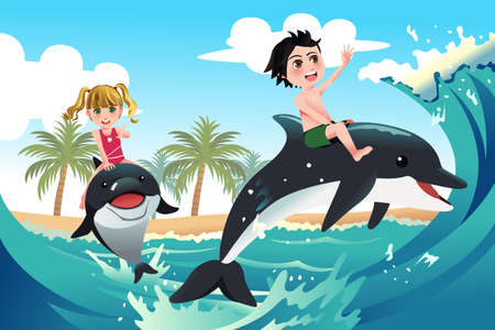 A vector illustration of happy children playing with dolphins in the ocean for carefree concept