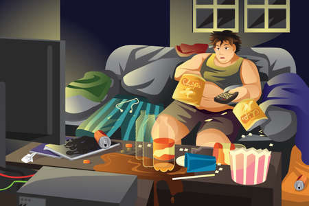 A vector illustration of lazy man eating potato chips and watching TV