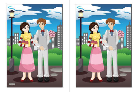 A vector illustration of find  5 differences game