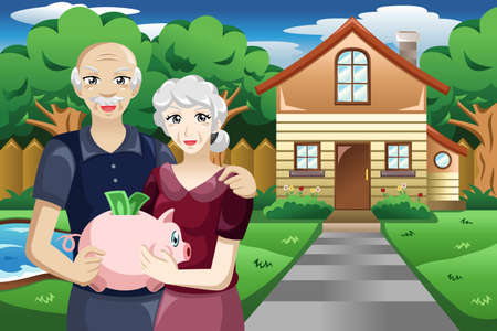 retirement savings: A vector illustration of retired people holding a piggybank of their savings Illustration