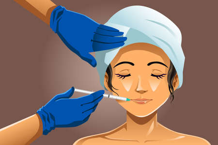A vector illustration of beautiful woman receiving beauty treatment in a clinic