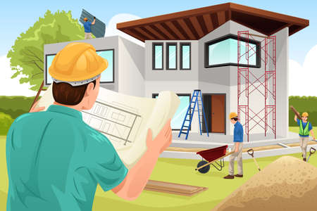 construction worker cartoon: A vector illustration of architect working at the construction site