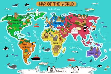A vector illustration of map of the world
