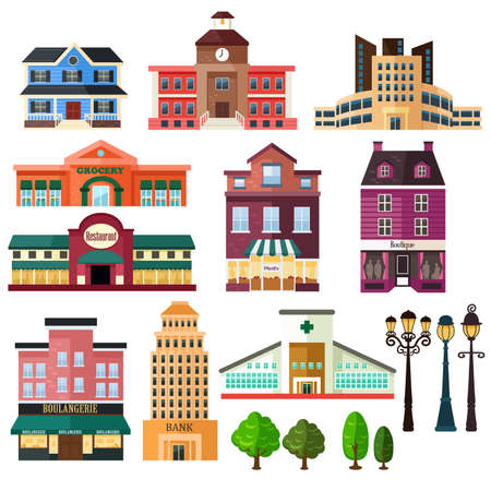 A vector illustration of buildings and lamp post icons Stock Illustratie