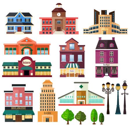 Ilustracji wektorowych budynków i ikony lampy pocztowych