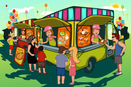 A vector illustration of people in food truck festival 向量圖像