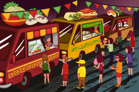 A vector illustration of people in food truck festival Çizim