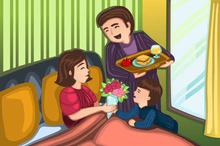 A vector illustration of father and son serving breakfast in bed for Mother for mothers day concept