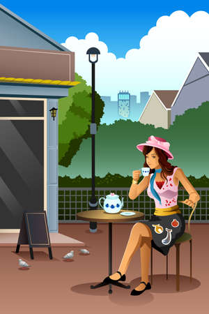 woman drinking coffee: A vector illustration of beautiful woman drinking coffee in a cafe
