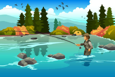 flyfishing: A vector illustration of man flyfishing in a river in the morning