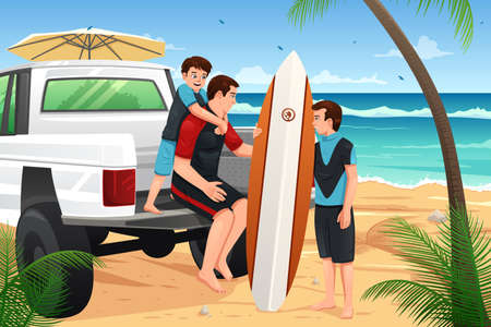 family holiday: A vector illustration of father and sons going to the beach for vacation