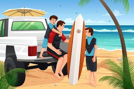 Una ilustración vectorial de padre e hijos ir a la playa para vacaciones Foto de archivo - 37634954