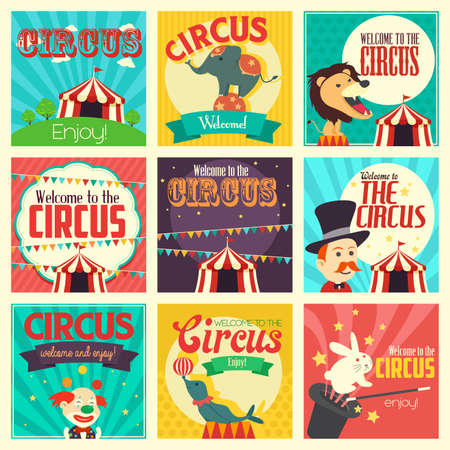 theme: A vector illustration of circus icon sets
