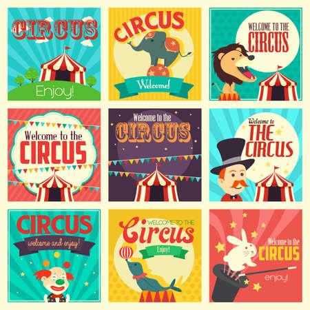 fondo de circo: Una ilustraci�n vectorial de circo conjuntos de iconos