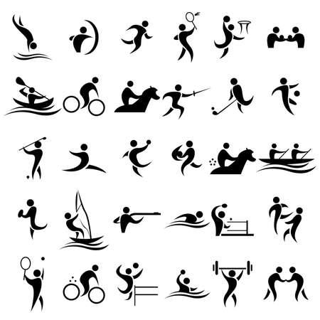 terrain de handball: Une illustration de vecteur du sport icônes ensembles