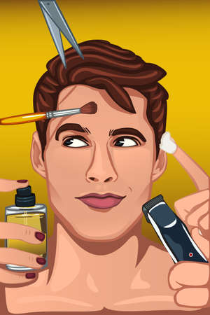 A vector illustration of man applying various beauty products to face