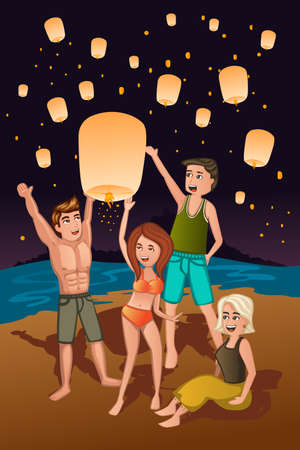 make belief: A vector illustration of young people releasing paper lanterns Illustration