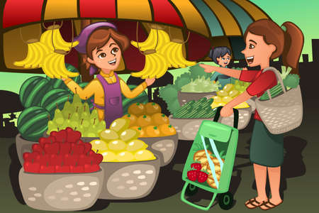 A vector illustration of fruit seller at the farmers market with a customer Vectores