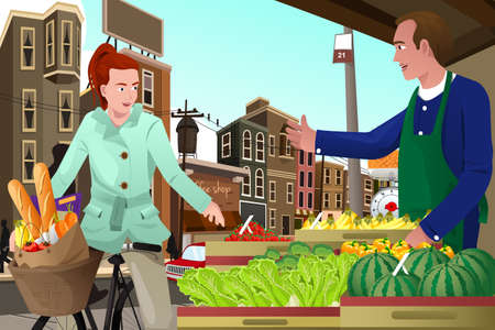 A vector illustration of young woman riding a bike shopping at a farmers market