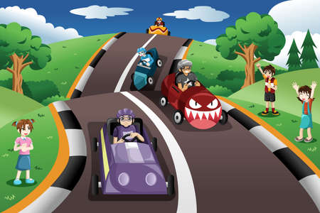 happy kids: A vector illustration of happy kids in a box car race Illustration