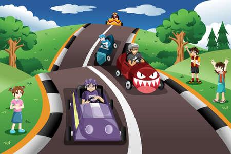 A vector illustration of happy kids in a box car race Иллюстрация
