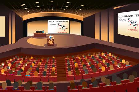 A vector illustration of a presentation in a conference in an auditorium Çizim