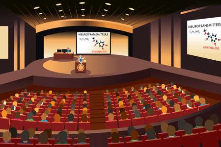 Vektorové ilustrace prezentace na konferenci v sále Ilustrace