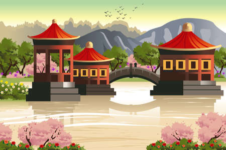 A vector illustration of background of Chinese temples Иллюстрация