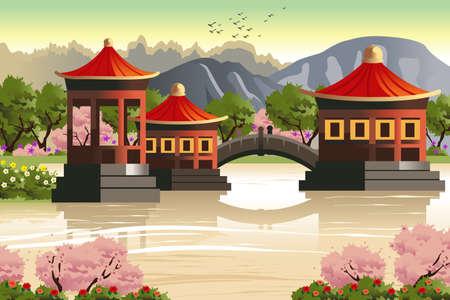 templo: Una ilustraci�n vectorial de fondo de los templos chinos Vectores