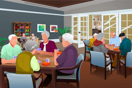 A vector illustration of elderly people playing cards in a retirement center