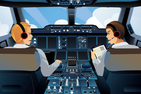 A vector illustration of pilot and copilot inside the cockpit Çizim