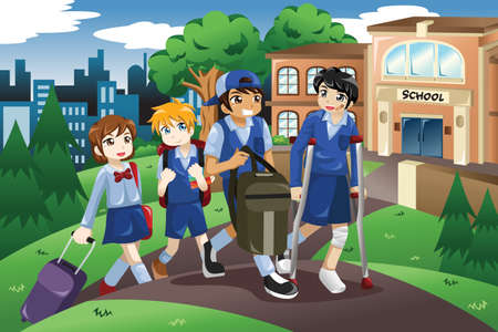 help: A vector illustration of injured kid walking home from school on crutches and his friends help him carrying his books and bag Illustration