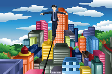 tight: A vector illustration of businessman balancing on a tight rope