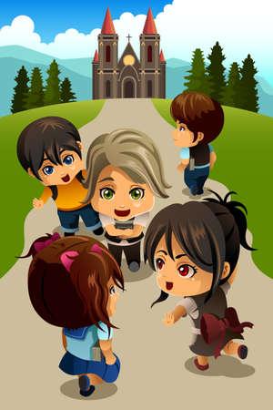 Een vector illustratie van gelukkige kinderen gaan naar de kerk Stock Illustratie